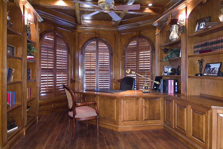 Custom Wood Plantation Shutters for this Den